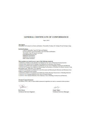 General Certificate of Conformance Format