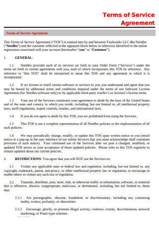 General Terms of Service Agreement
