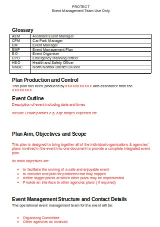 Generic Event Management Plan