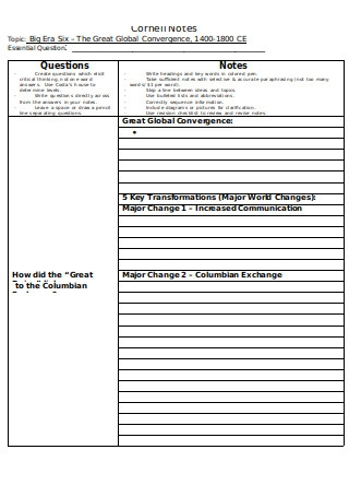 Global Convergence Cornell Notes