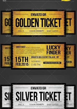 Golden Silver Ticket Corporate Invitation