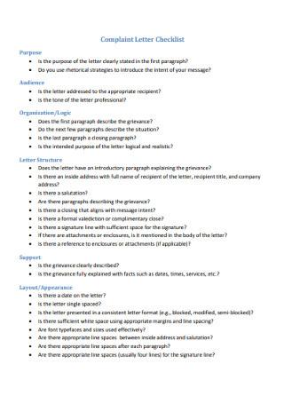 Grievance Complaint Letter Checklist