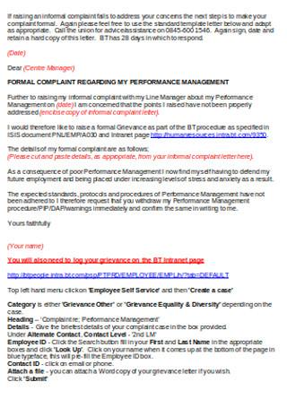 Grievance Complaint Letter