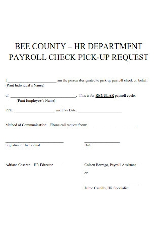 HR Department Payroll Check Template
