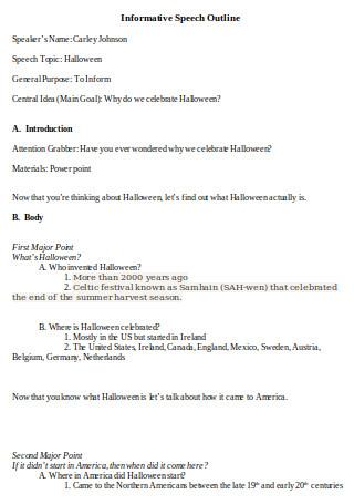 Halloween Informative Speech Outline