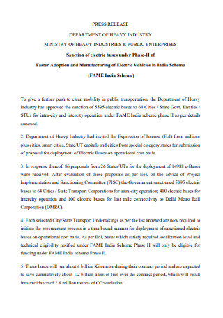 Heavy Industry Press Release Template