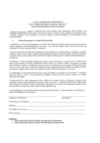 Hold Harmless Agreement Form