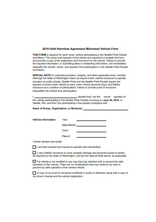 Hold Harmless Agreement Motorized Vehicle Form