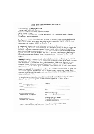 Hold Harmless Release Agreement