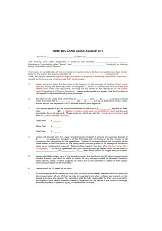 Hunting Land Lease Agreement