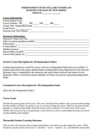 Independent Study Course Syllabus