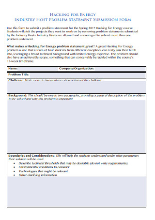 Industry Host Problem Statement Template