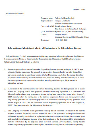 Information on Submission of a Letter of Explanation