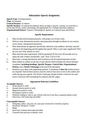 Informative Speech Assignment Example