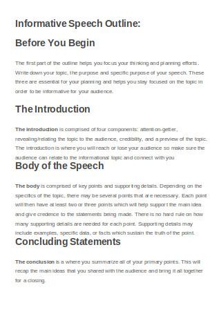 Informative Speech Outline