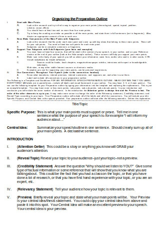 Informative Speech Preparation Outline Template