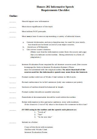 Informative Speech Requirements Checklist