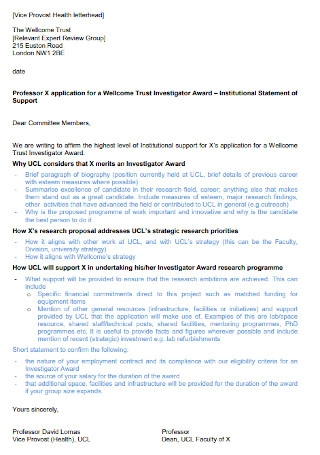 Institutional Letter of Support Template