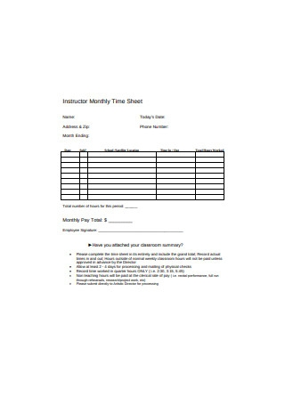 Instructor Monthly Time Sheet