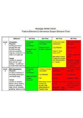 Intervention Support Behavior Chart