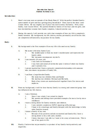Introduction Speech Outline