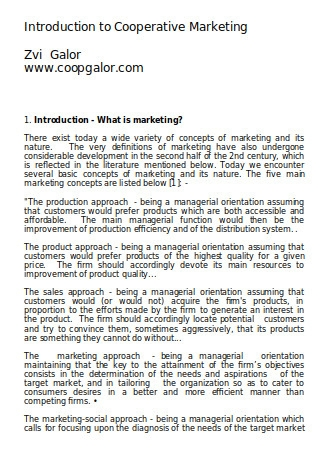 Introduction to Cooperative Marketing