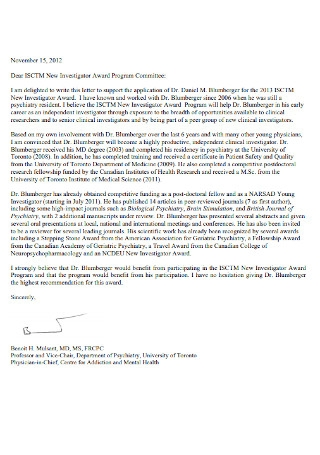 Investigator Award Letter of Support Template