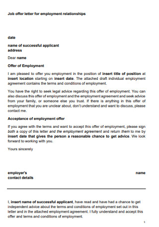 Job Offer Letter for Employment Relationships