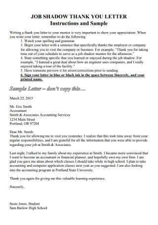Job Shadow Thank You Letter