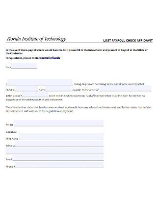 Lasr Payroll Check Affidavit Format
