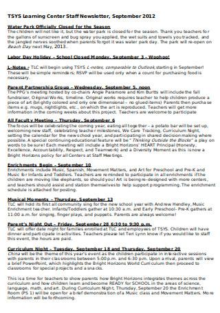 Learning Center Staff Newsletter