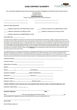 Lease Contract Guaranty Template