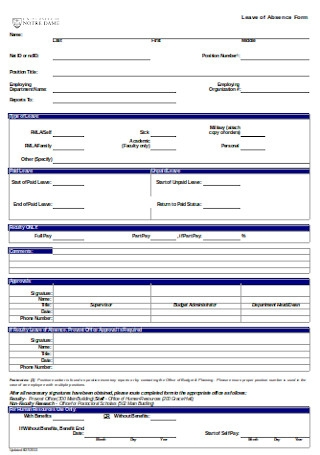 Leave of Absence Form Sample