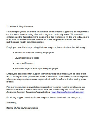 Letter Agency to Employer
