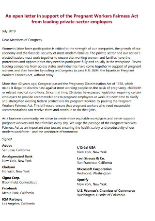 Letter Support of Pregnant Workers