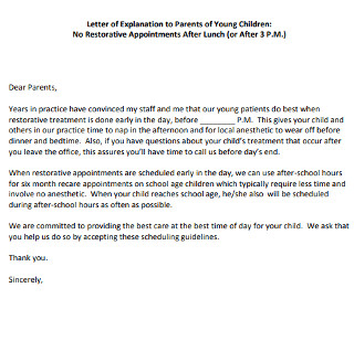 Letter of Explanation to Parents of Young Children
