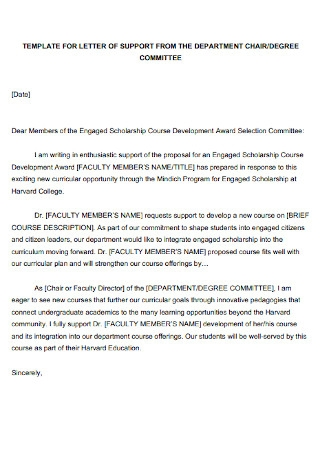 Letter of Support for Department Chair