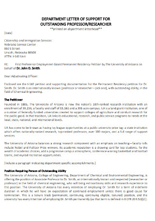 Letter of Support for Outstanding Professor Template
