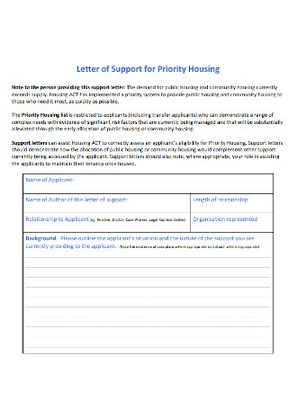 Letter of Support for Priority Housing