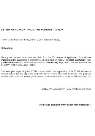 Letter of Support from Home Insitution Template