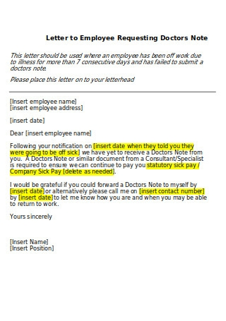 Letter to Employee Requesting Doctors Note