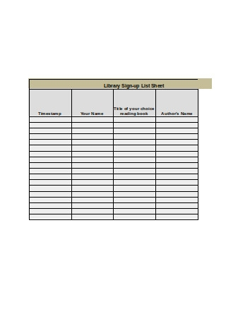 Library Sign up List Sheet