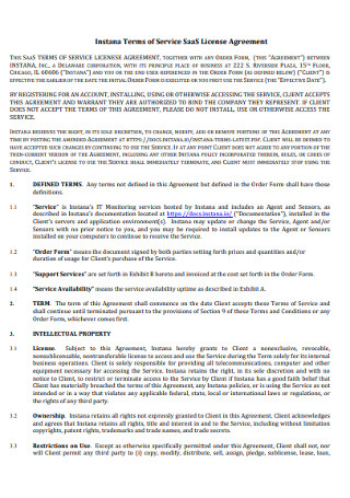 Licence Terms of Service Agreement