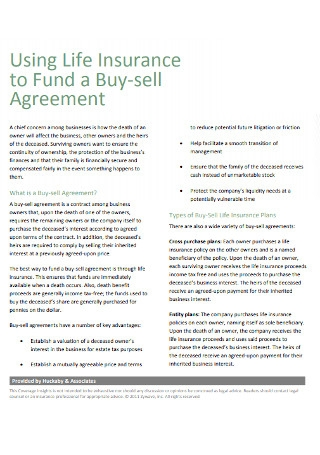 Life Insurance of Fund a Buy sell Agreement