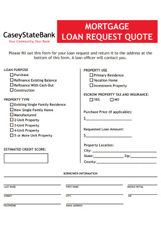 Loan Reqest for Quote Template