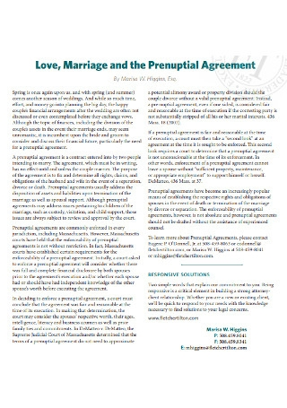 Love Marriage and Prenuptial Agreement