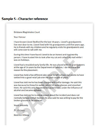 Magistrates Court Character Reference Letter