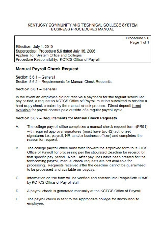 Manual Payroll Check Request Template