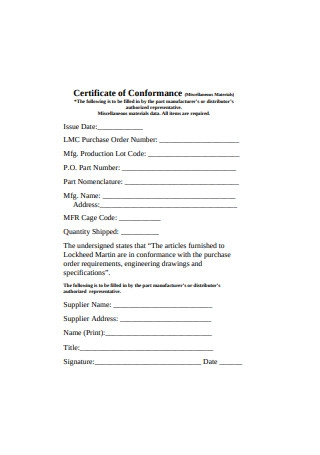 Manufacturers Certificate of Conformance Sample