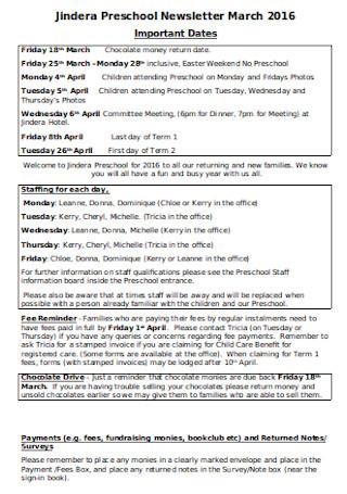 March Preschool Newsletter